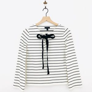 J.Crew Velvet Tie Front Long Sleeve Top Stripe XXS
